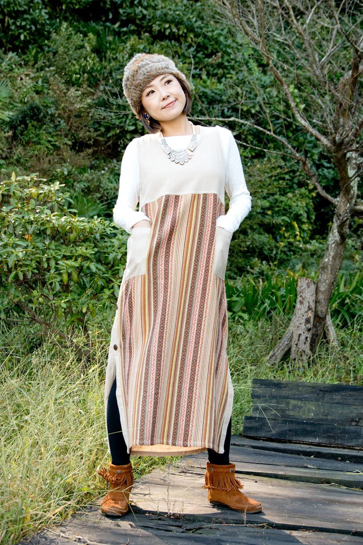 ネパールゲリ刺繍のロングワンピース 2 - 小柄な方が着てもスッキリ見えます。