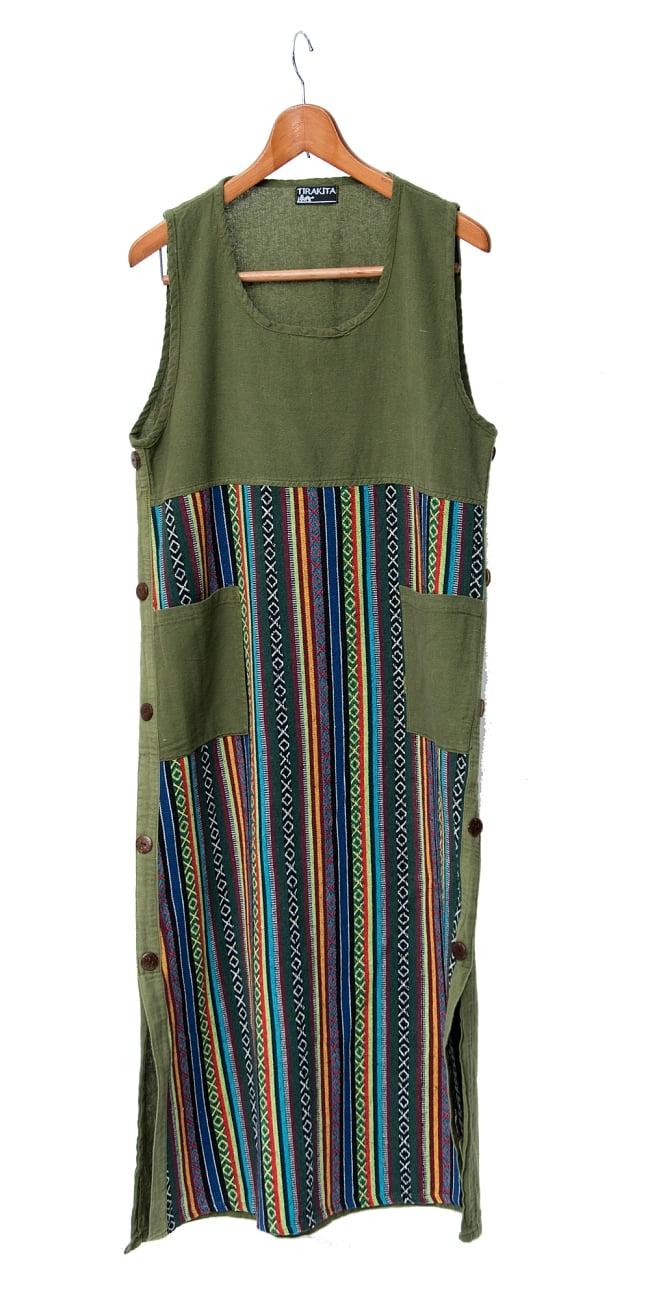 ネパールゲリ刺繍のロングワンピース 5 - 選択1:グリーン