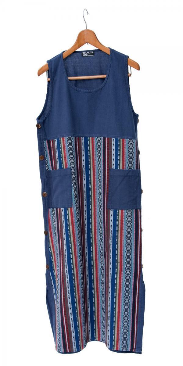 ネパールゲリ刺繍のロングワンピース 9 - 選択5:ネイビー