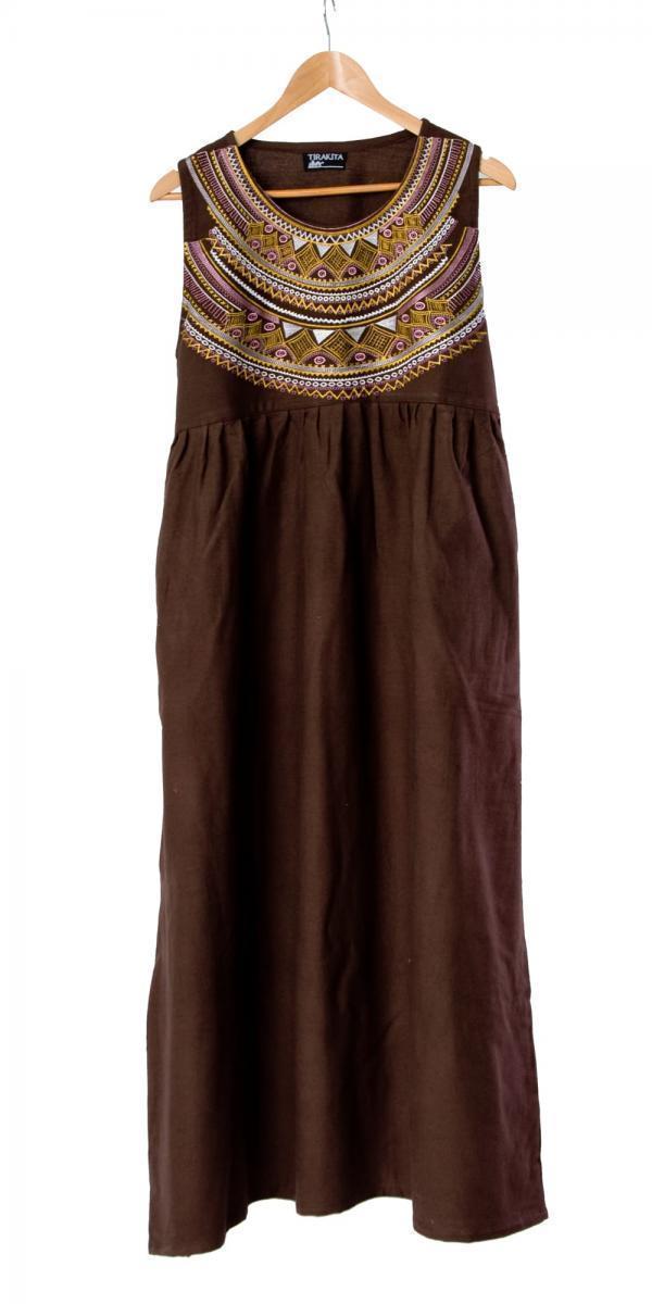 刺繍が美しいコットンマキシワンピース 11 - 選択6:ブラウン