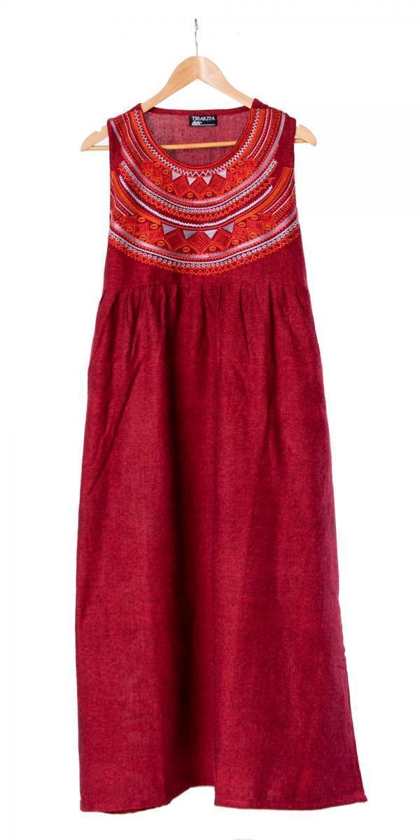 刺繍が美しいコットンマキシワンピース 12 - 選択7:レッド