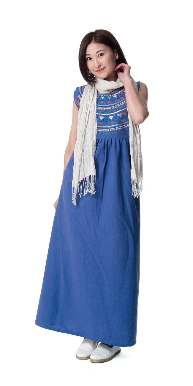 刺繍が美しいコットンマキシワンピース 3 - 身長159�のモデル着用例です。選択2:ブルー