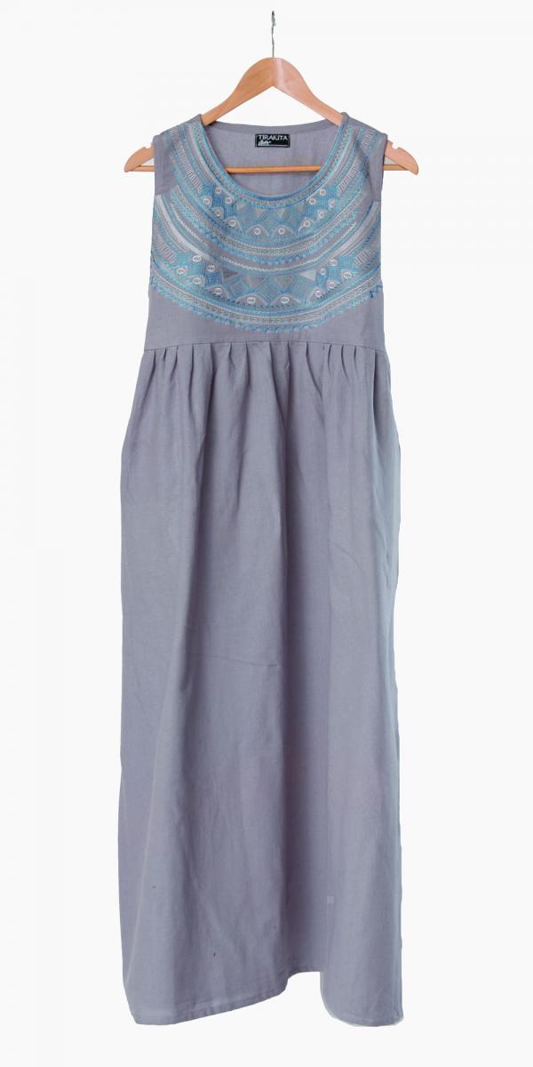 刺繍が美しいコットンマキシワンピース 6 - 選択1:グレー
