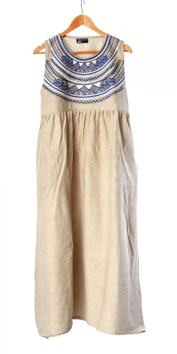 刺繍が美しいコットンマキシワンピース 7 - 選択2:ベージュ