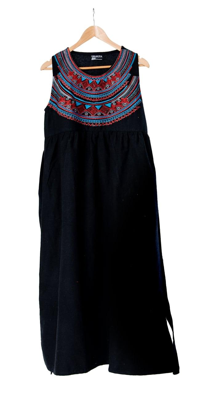 刺繍が美しいコットンマキシワンピース 8 - 選択3:ブラック