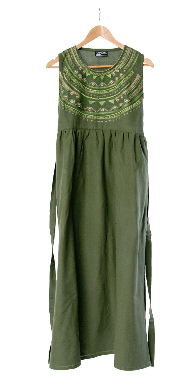 刺繍が美しいコットンマキシワンピース 9 - 選択4:グリーン