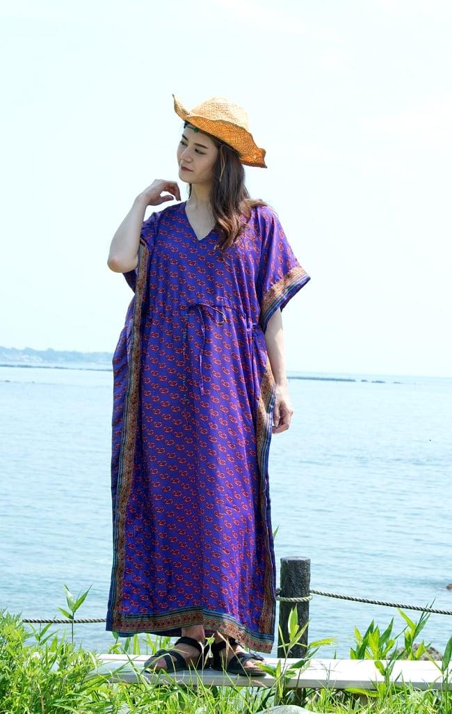 サリー生地のカフタンマキシワンピース 8 - 身長165cmのモデルさん着用例です。
