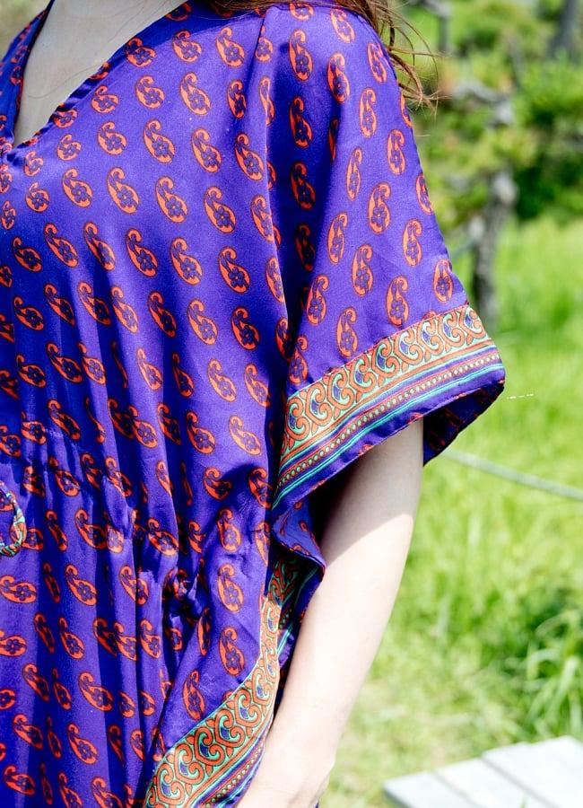 サリー生地のカフタンマキシワンピース 9 - 袖周りも涼しくてスッキリ。