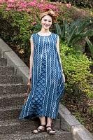 カンタ刺繍 藍染マキシワンピース
