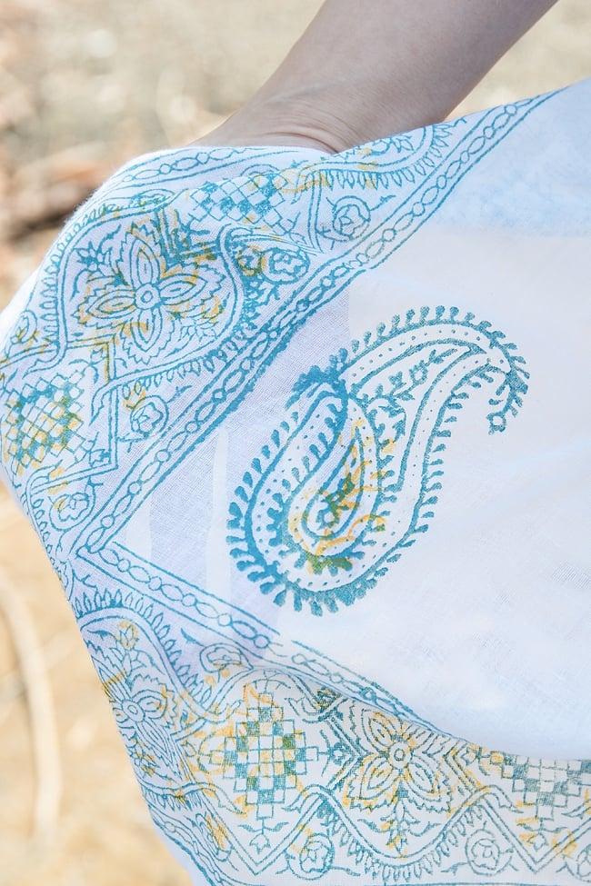 インド薄更紗 カフタンチュニック 4 - パステル調のウッドブロックが可愛らしいデザインです。
