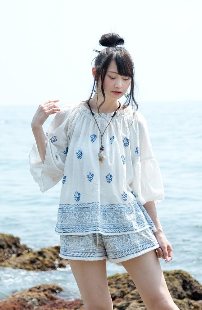 ウッドブロックプリントのシャツ&パンツ セットアップ 2 - 身長163cmのモデルさん着用例です。