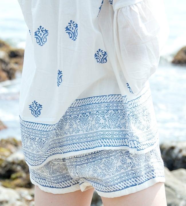 ウッドブロックプリントのシャツ&パンツ セットアップ 5 - ウッドブロックスタンプから手作りの温かさが伝わってきます。