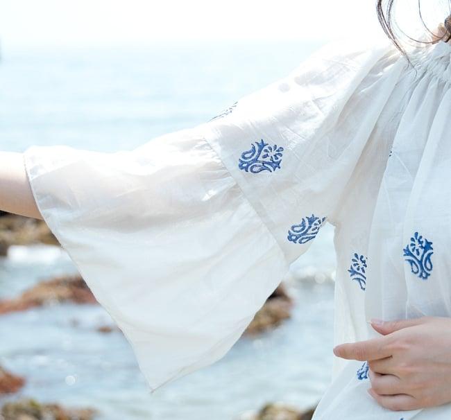 ウッドブロックプリントのシャツ&パンツ セットアップ 8 - 袖はベルスリーブで華奢な印象に。