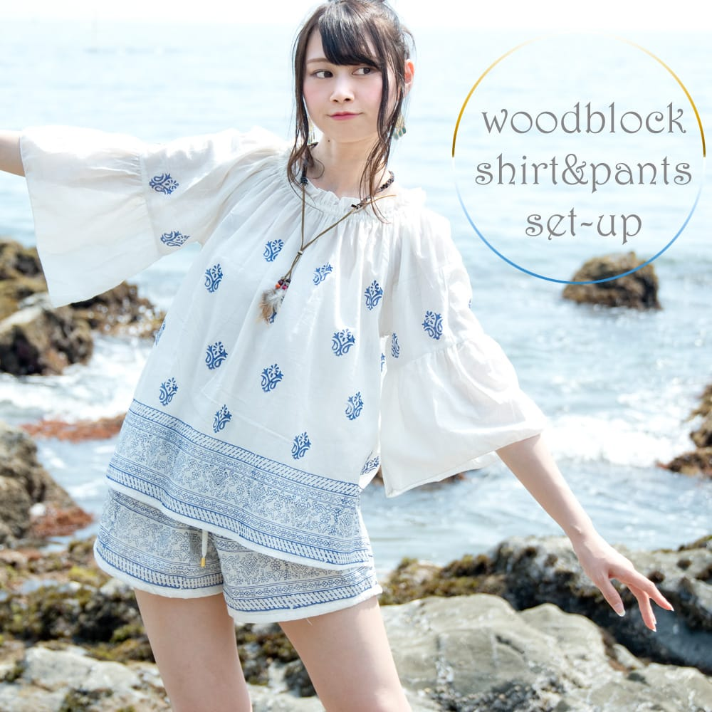 ウッドブロックプリントのシャツ&パンツ セットアップの写真