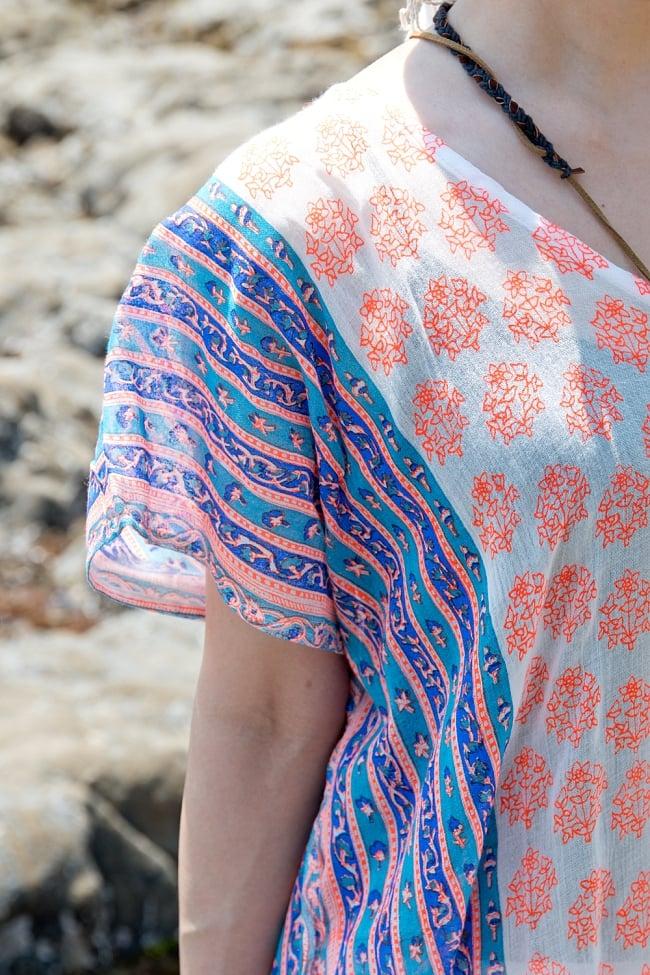 ウッドブロック風ロングチュニック 5 - 真四角ですが実際に着てみると、いい感じに肩が落ちて袖のようになります。