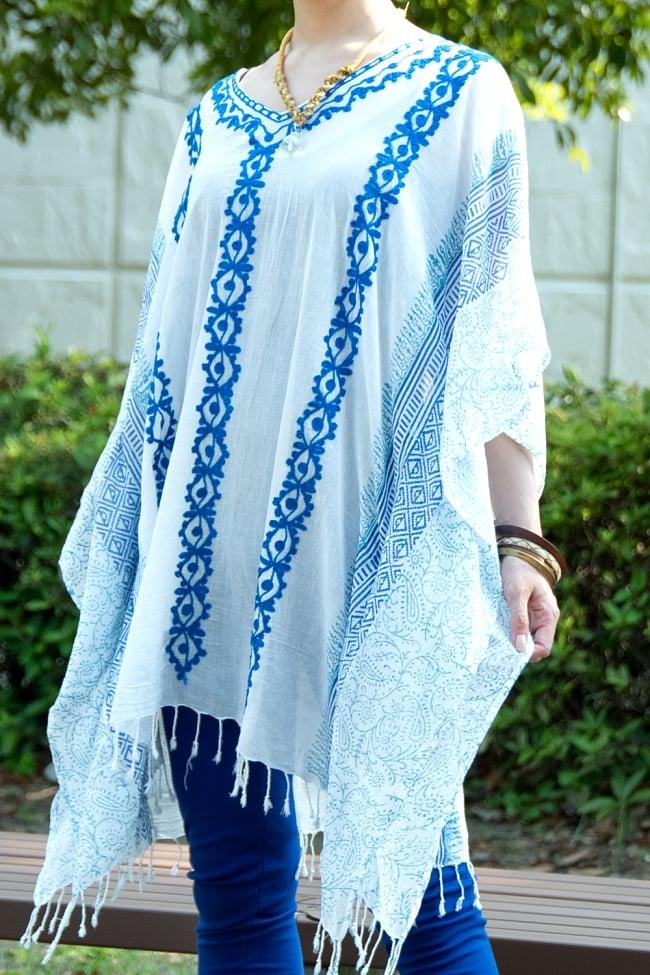 ロング丈のカフタンチュニック 12 - 選択3:ブルー刺繍&プリント