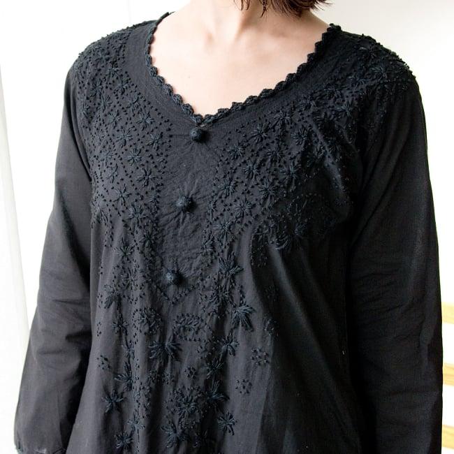 たっぷり刺繍のシンプルクルティ 9 - ブラック