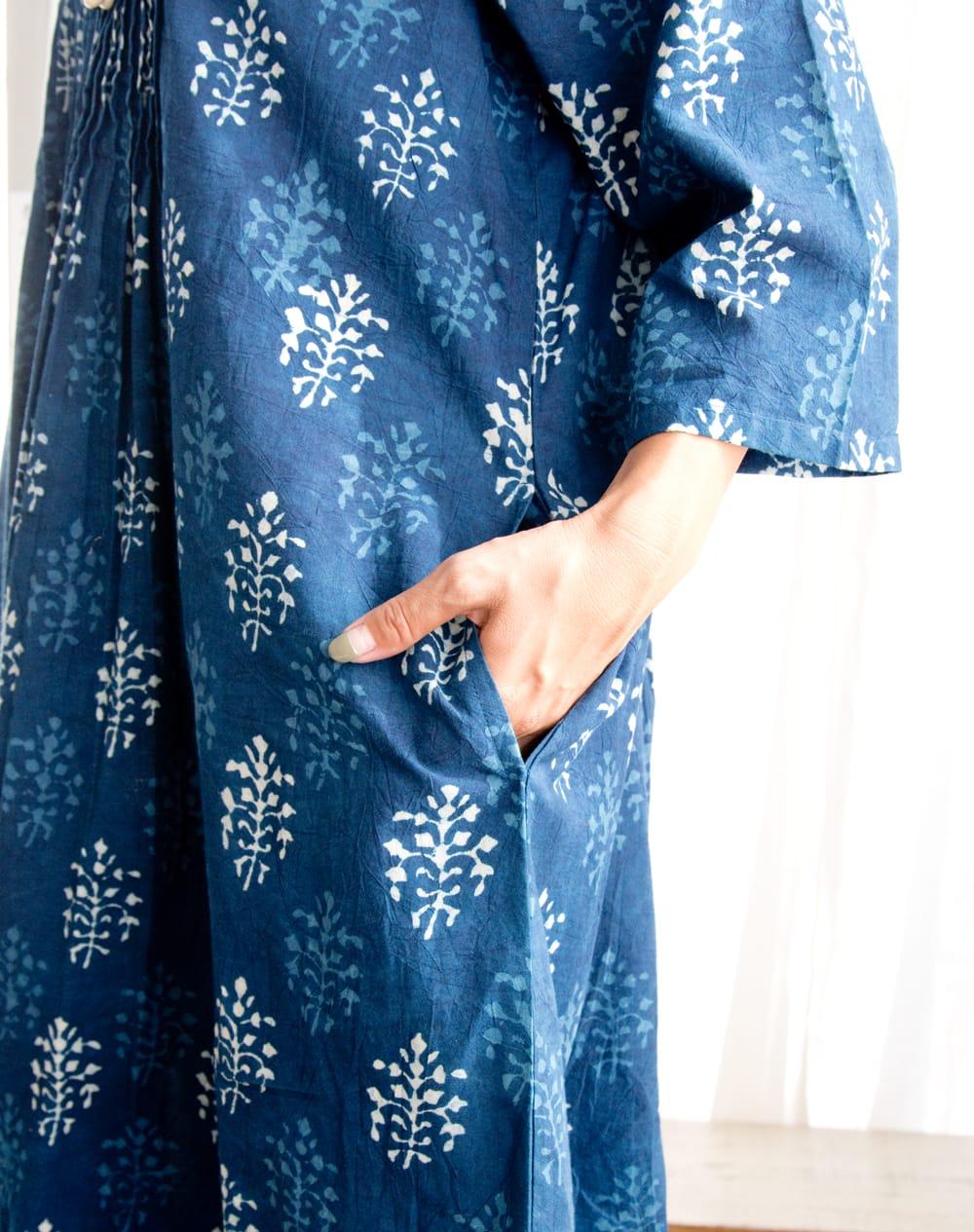 藍染のピンタックワンピース 7 - 両サイドにはポケットも有り便利です。