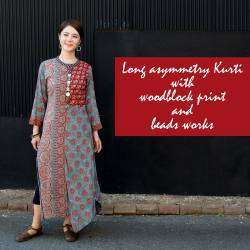 個性派ボタンが可愛い!ウッドブロックプリントのアシンメトリー ロングクルティの商品写真