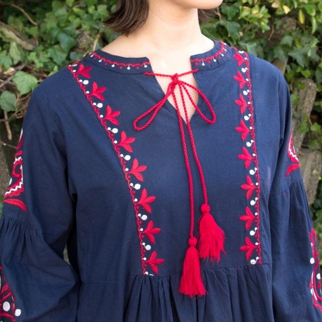 パフスリーブの刺繍ワンピース 12 - 選択1:ネイビー