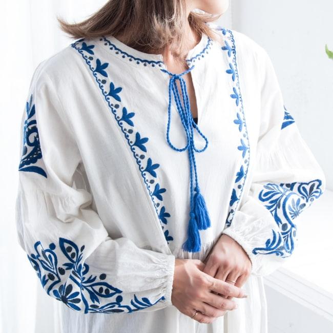 パフスリーブの刺繍ワンピース 13 - 選択2:ホワイト