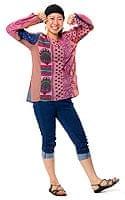 長袖パッチワークウッドボタン付きシャツ 【ピンク系】