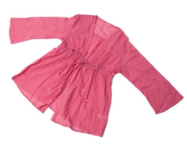 長袖フロントオープンコットンシャツ 【ピンク】の写真4 - 広げてみるとこんな形になります。