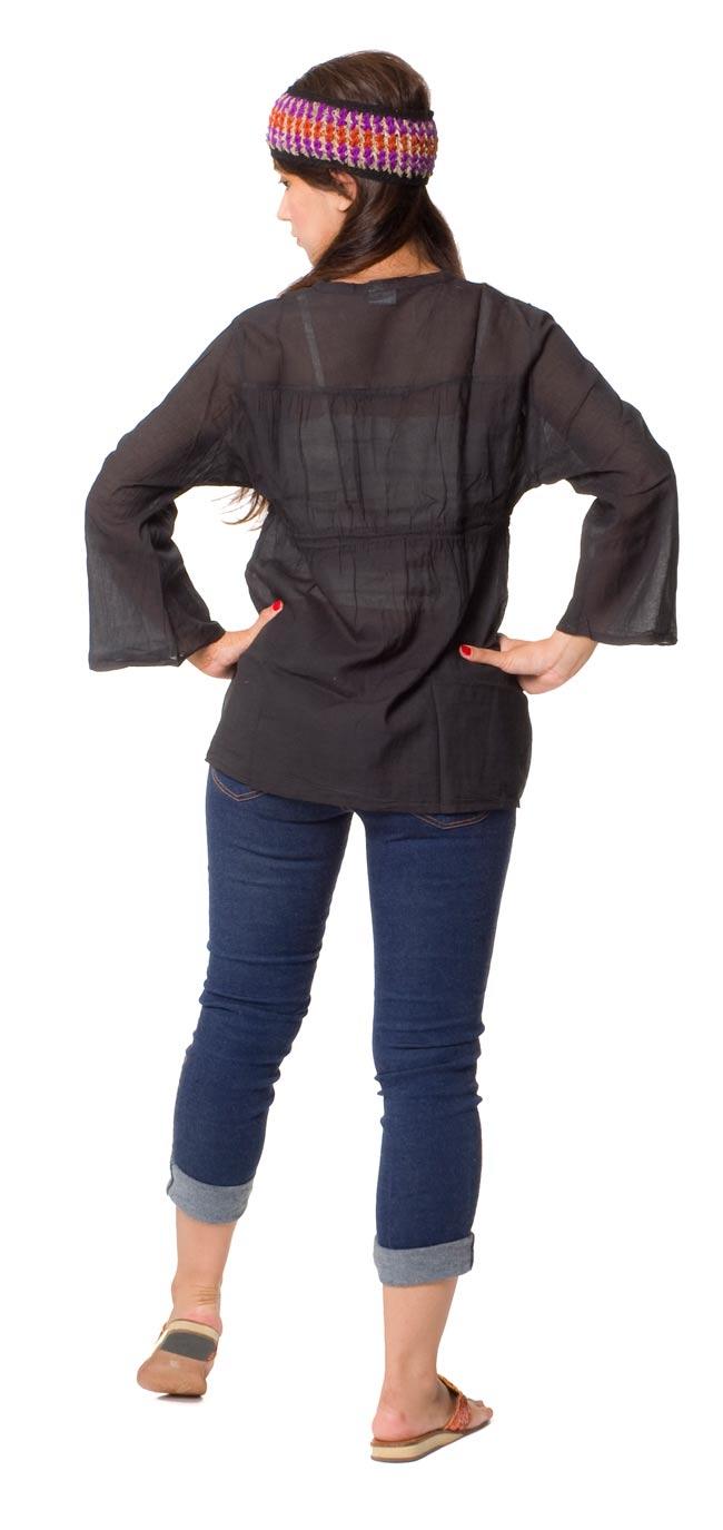 長袖フロントオープンコットンシャツ 【黒】 3 - 後ろ姿はこんな感じです。