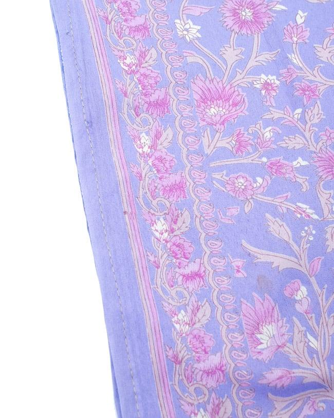 リバーシブル サリー生地タイパンツ 【紫系】 4 - 裾部分はこのような感じで縫われています。