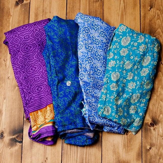 アンティークサリー生地のタイパンツ - 青・紫系の写真