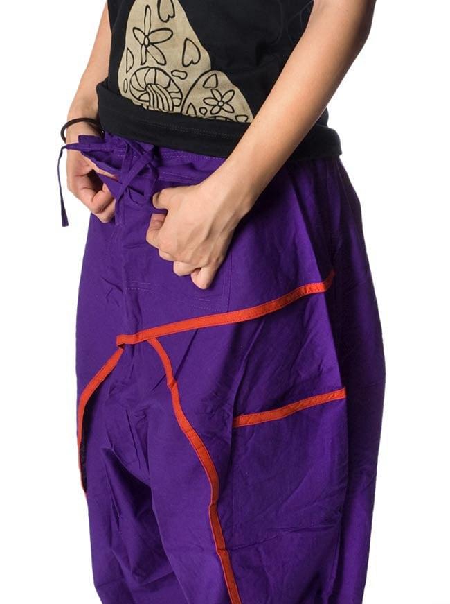 ライン入りアラジンパンツ - 紫 3 - 大きなポケットが便利ですね。