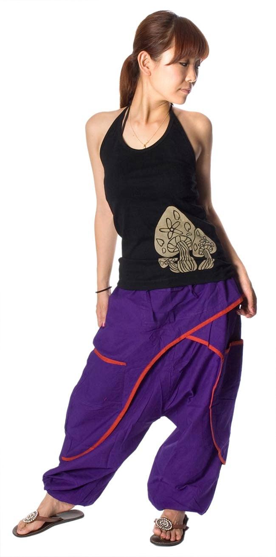 ライン入りアラジンパンツ - 紫の写真