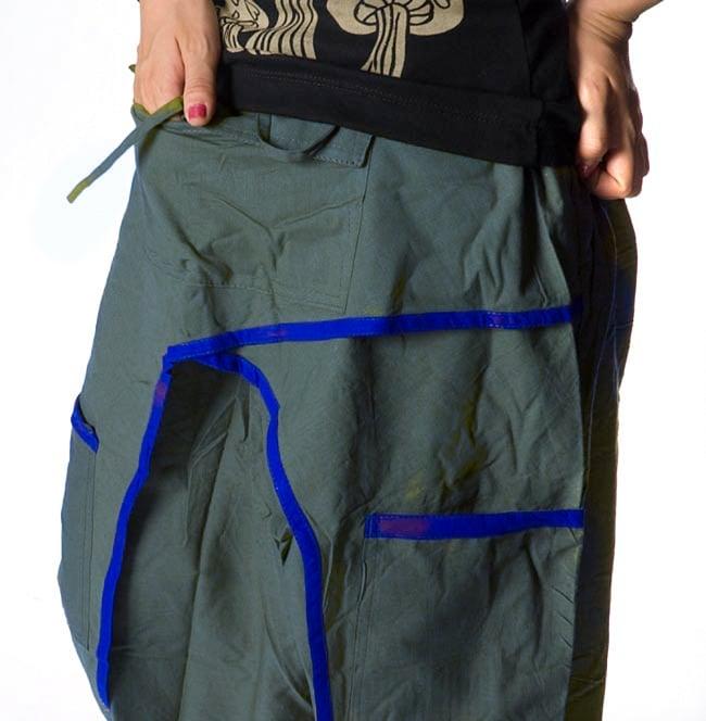 ライン入りアラジンパンツ - 青緑 3 - 大きなポケットが便利ですね。
