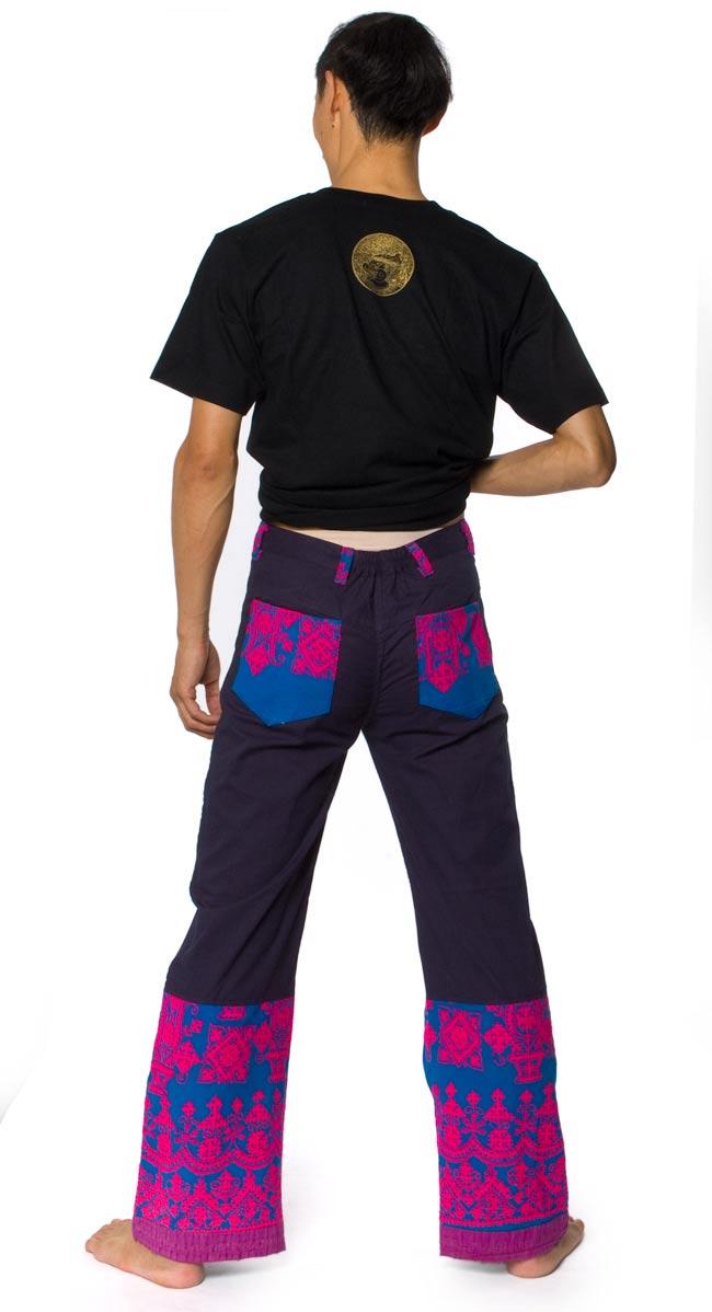 カッチ地方のトライバル刺繍パンツ 紺の写真2 - 後ろ姿はこんな感じです。