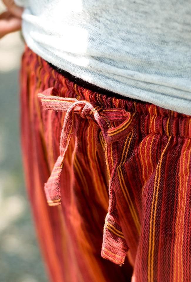 4ポケットストライプコットンパンツ 5 - ウエストはゴムと紐なのでとても楽に履けちゃいます!