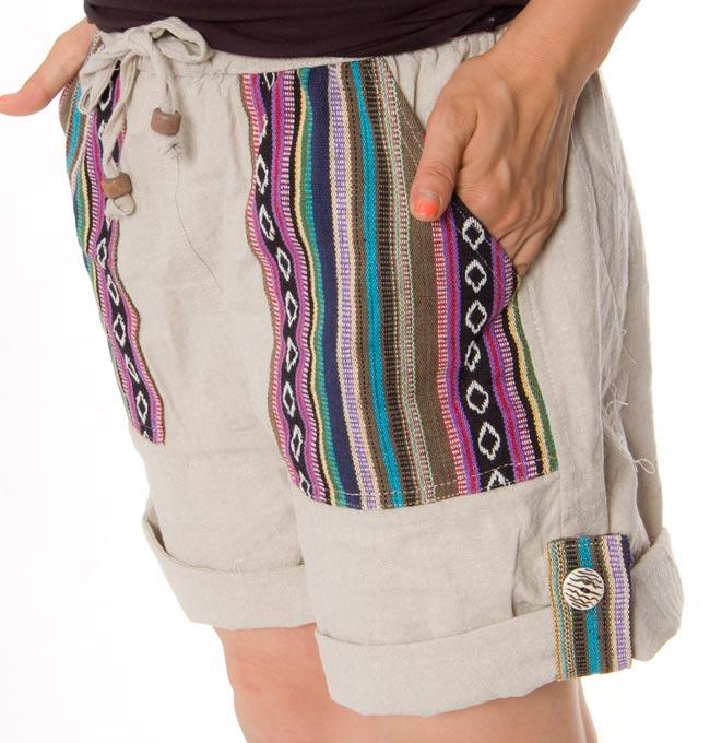 2WAY ポケット刺繍ショートパンツ 【ベージュ】の写真4 - サイドからのアップです。