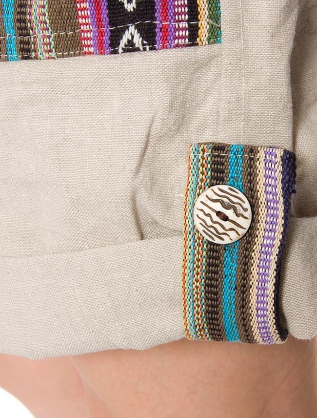 2WAY ポケット刺繍ショートパンツ 【ベージュ】の写真5 - 裾部分をアップにしてみました。ボタンも可愛いです。