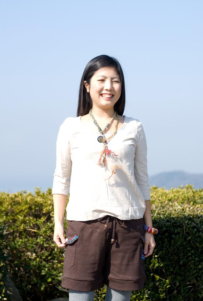 バック刺繍スウェットショートパンツ 【茶】の写真