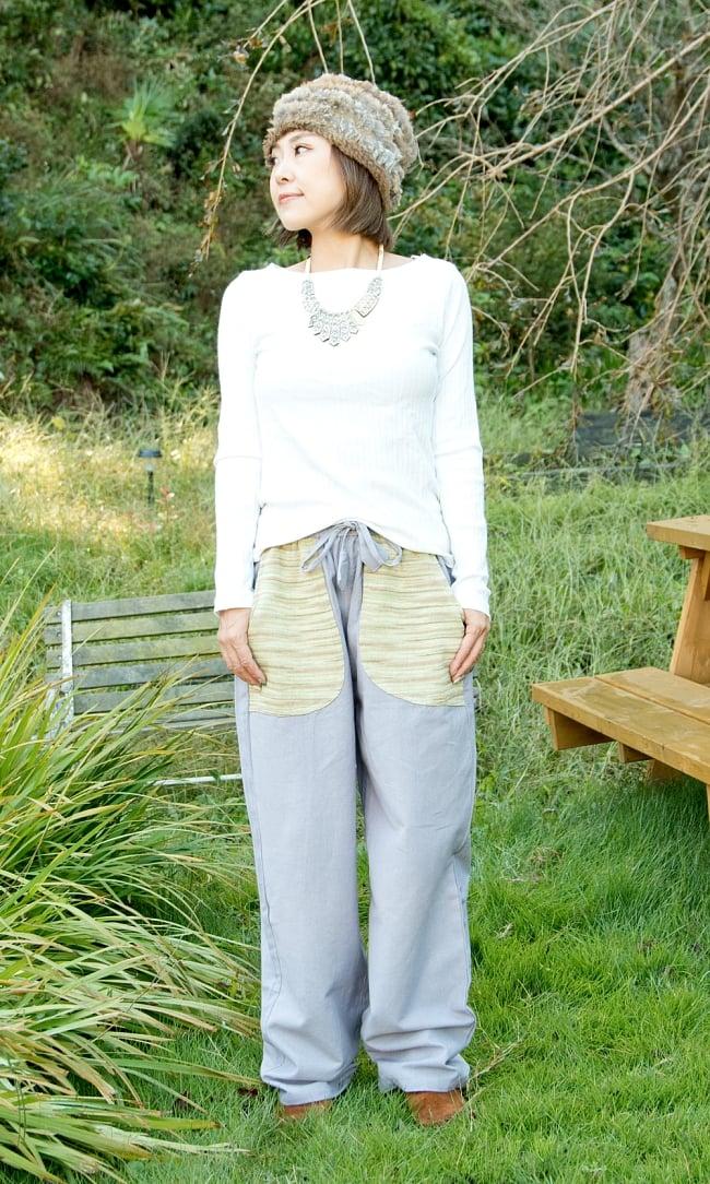 カラフルポケット コットンパンツ  4 - 身長150cmのモデル着用例です。ローヒールのシューズだとちょっと大きめに感じます。