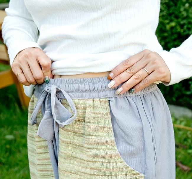 カラフルポケット コットンパンツ  5 - ウエストはゴムと紐なのでとてもリラックスして履けます。