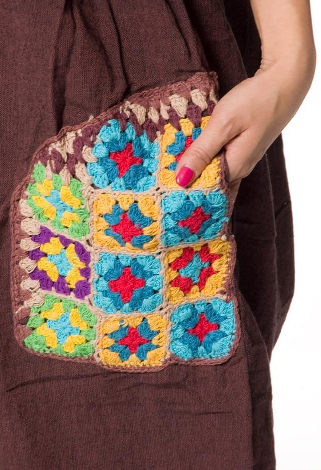 フラワー刺繍のゆったりサロペット 【茶】 5 - お花の刺繍が可愛らしいですね。