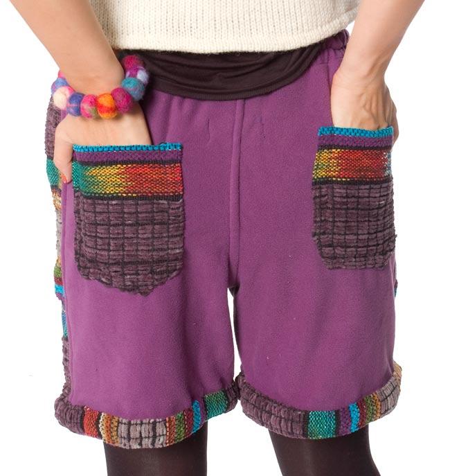 ネパールのフリースハーフパンツ 【紫】 4 - ポケットをアップにして撮ってみました。