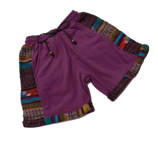 ネパールのフリースハーフパンツ 【紫】 8 - 広げるとこんな形をしています。(こちらは同じデザインの色違いです)