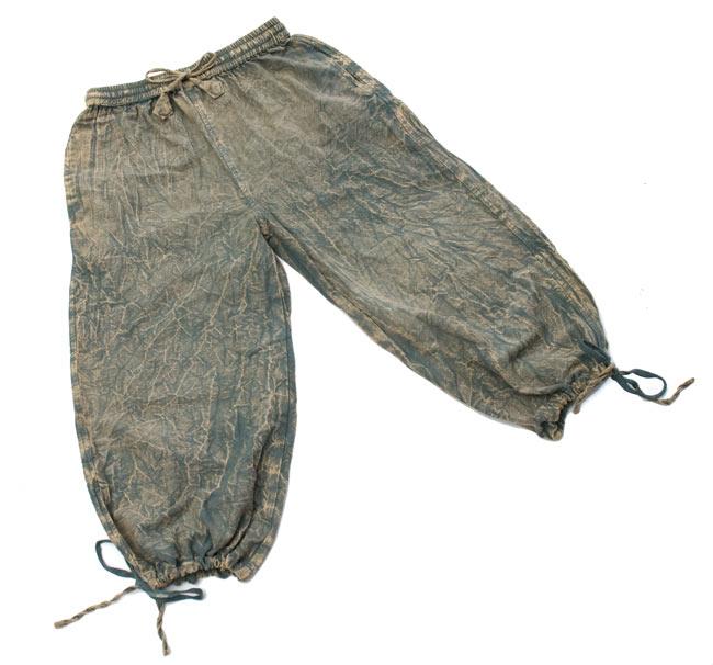 ストーンウォッシュの八分丈パンツ 【ブルーグレー】 7 - 広げるとこんな形です。