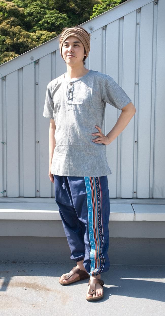 ネパールゲリのアフガンパンツ 【青】の写真6 - 身長170cmのスタッフに着用してもらいました。女性でも男性でも問題なく着れますよ!
