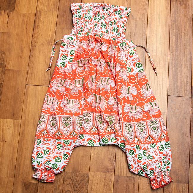 ぞうさんとお花の2WAYモモンガパンツ  12 - 2:オレンジ+緑