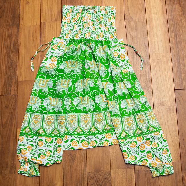 ぞうさんとお花の2WAYモモンガパンツ  13 - 3:緑+黄