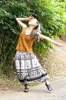 エスニック衣料のセール品:[日替わりセール品]ぞうさんとお花の2WAYモモンガパンツ 【黒×白】