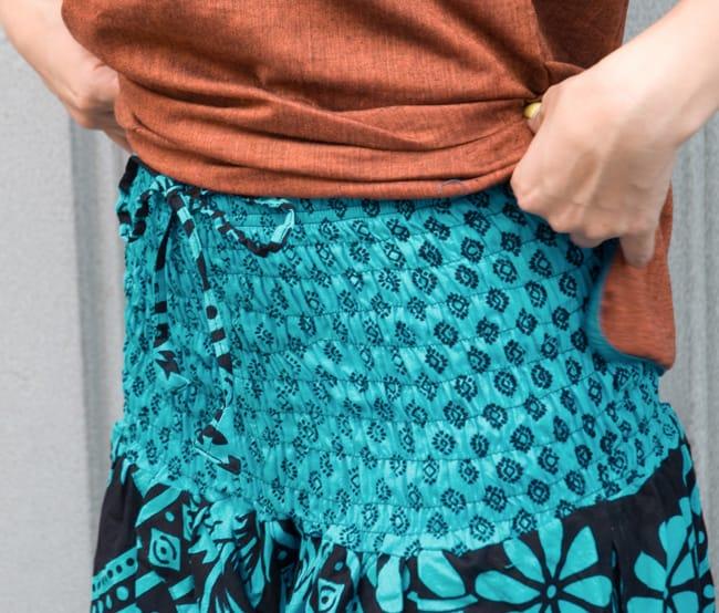 ぞうさんとお花のアラジンパンツ 【黒×青】 4 - ウエスト部分はゴムと紐で調節可能です!