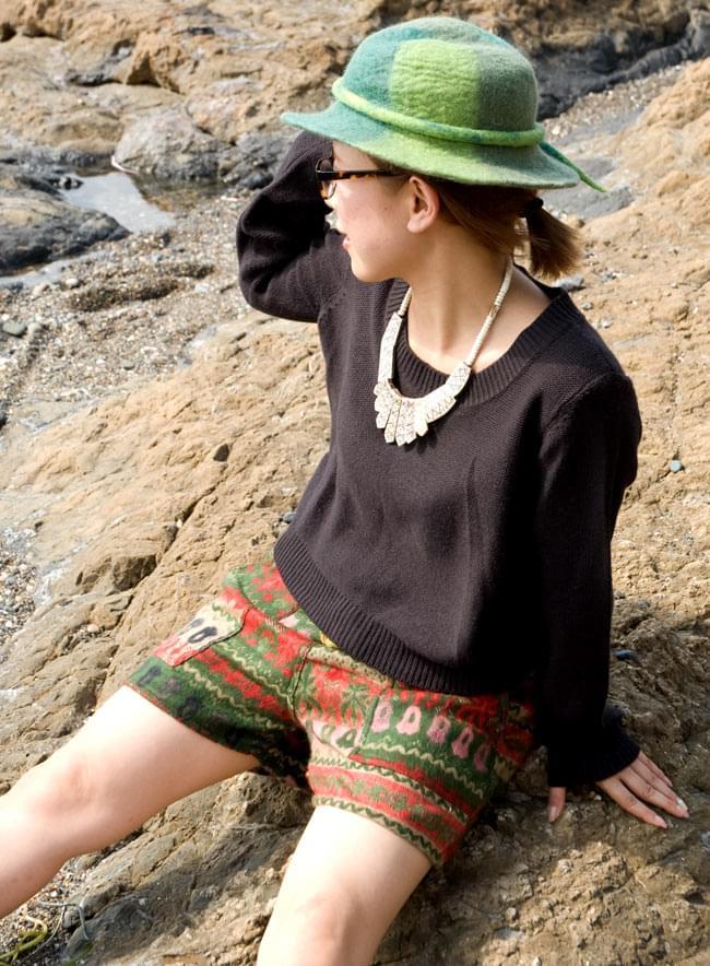 ネパールふわふわ起毛のショートパンツの写真4 - ショート丈で元気に履きこなしてください。